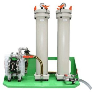 Waste water discolouration and purification through active carbon chamber equipment EPURWATER