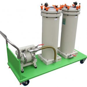 Microfiltration equipment on mobile cart for surface treatment detergent bath deoiling